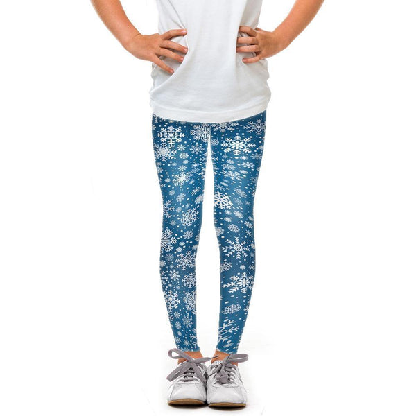 USA Made Dropship Leggings Default Title / Blue Youth Dark Blue Snowflake YLG1BUMC10