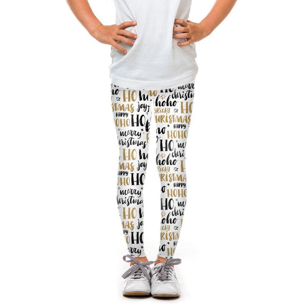 USA Made Dropship Leggings Default Title / White Youth Ho Ho Ho Black and Gold YLG1BUMC14