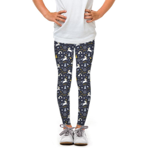 USA Made Dropship Leggings Default Title / Navy Youth Holiday Unicorns YLG1BUMC18