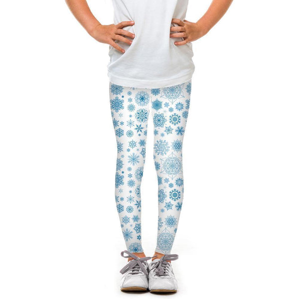 USA Made Dropship Leggings Default Title / White Youth Light Blue Snowflake YLG1BUMC9