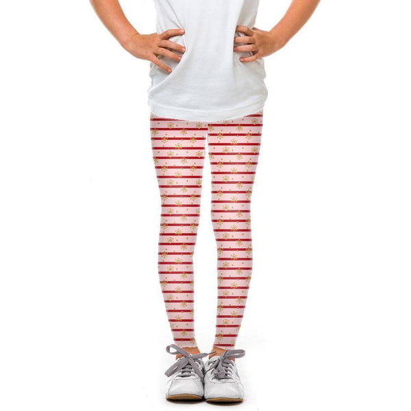 USA Made Dropship Leggings Default Title / Pink Youth Pink Holiday Stripes YLG1BUMC15