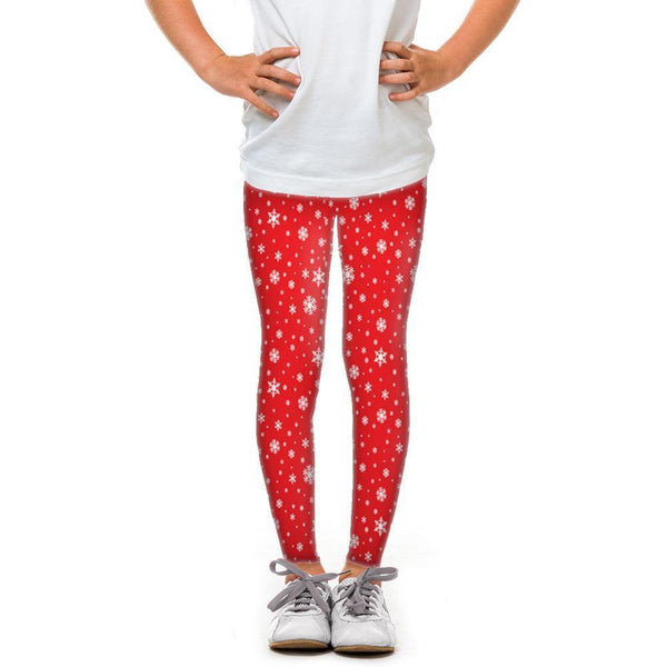 USA Made Dropship Leggings Default Title / Red Youth Red Snowflakes YLG1BUMC21