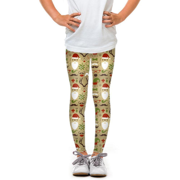 USA Made Dropship Leggings Default Title / Brown Youth Santa and Reindeer YLG1BUMC5