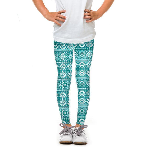 USA Made Dropship Leggings Default Title / Teal Youth Teal Snowflake YLG1BUMC8