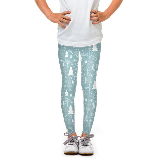 USA Made Dropship Leggings Default Title / Blue Youth Trees and Snowflakes YLG1BUMC6