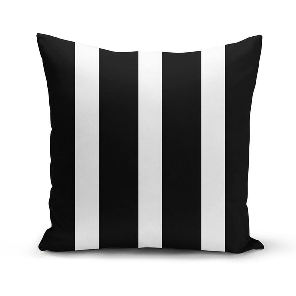 USA Made Dropship Pillow 12x16 / Multicolored Black & White Stripes Pillow Cover PC0266-12X-MUL
