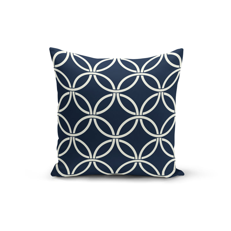 USA Made Dropship Pillow 12x16 / Multicolored Navy Circle Interlock Pillow Cover PC0237-12X-MUL