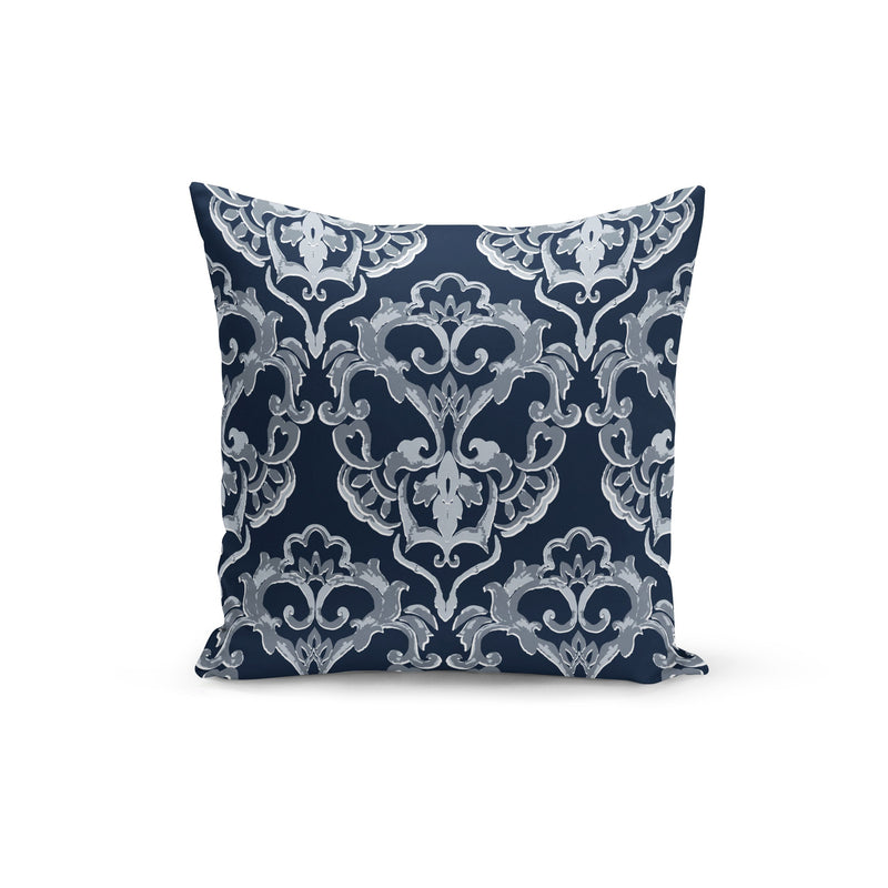 USA Made Dropship Pillow 12x16 / Multicolored Navy Damask Pillow Cover PC0236-12X-MUL