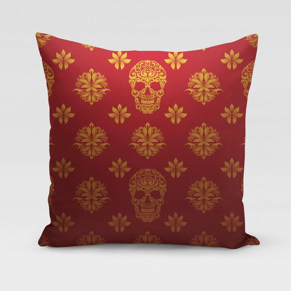 USA Made Dropship Pillow 12x16 / Multicolored Red Gold Skulls Pillow Cover PC0347-12X-MUL