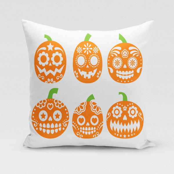 USA Made Dropship Pillow 12x16 / Multicolored Sugar Skull Pumpkins Pillow Cover PC0347-12X-MUL
