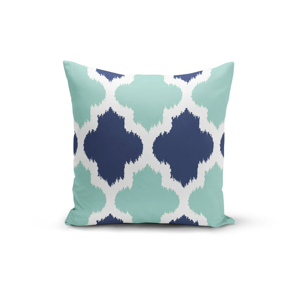 USA Made Dropship Pillow 12x16 / Multicolored Teal Blue Geometric Pillow Cover PC0230-12X-MUL