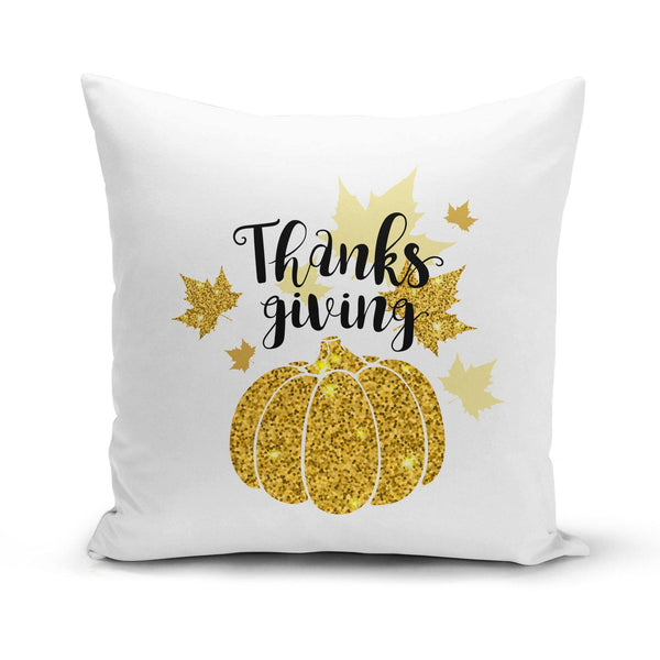 USA Made Dropship Pillow 12x16 / Multicolored Thanksgiving Gold Pumpkin Pillow Cover PC0347-12X-MUL