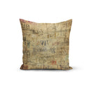 USA Made Dropship Pillow 12x16 / Multicolored Vintage Paper Pillow Cover PC0225-12X-MUL