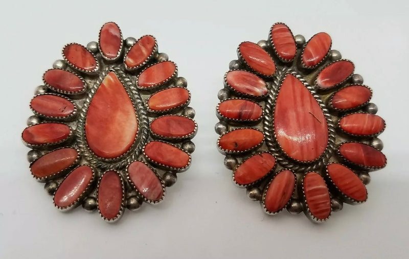 Red Spiny Oyster Petit Point Earrings