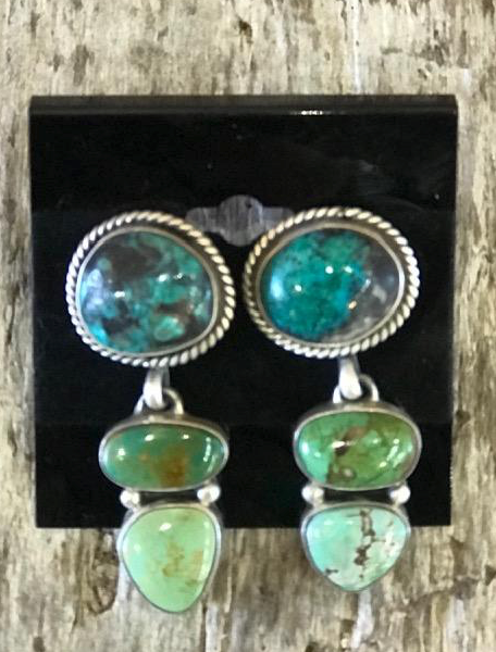 3 TIERED TURQUOISE EARRINGS