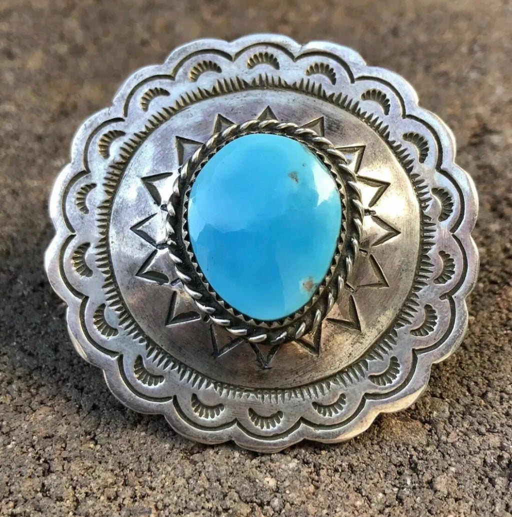 Huge Concho Turquoise Ring