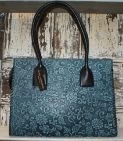 BLUE FLOWER TOOLED HANDBAG