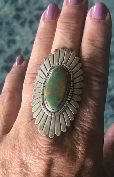 LARGE RANDY R HOSKIE GREEN TURQUOISE RING
