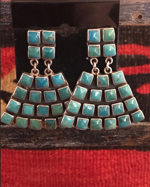 FEDERICO JIMENEZ VINTAGE TURQUOISE DANGLE EARRINGS