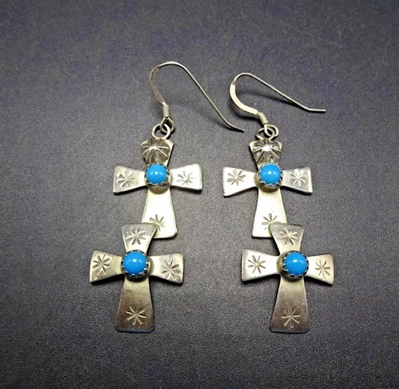 VINTAGE HAND STAMPED STERLING TURQUOISE CROSS EARRINGS
