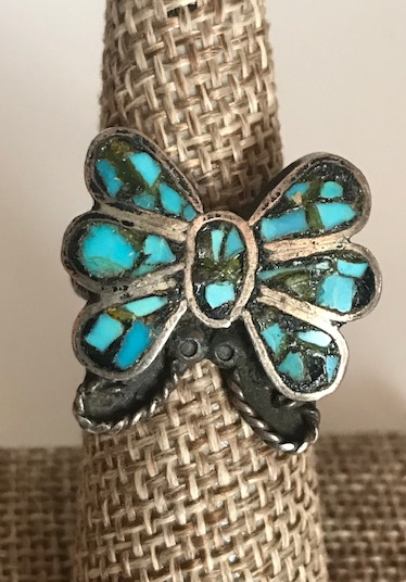 TURQUOISE INLAY BUTTERFLY RING