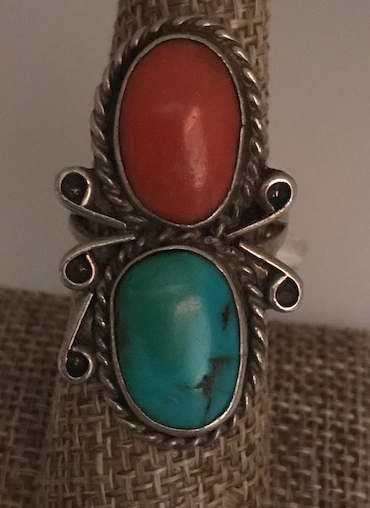 CORAL AND TURQUOISE VINTAGE RING