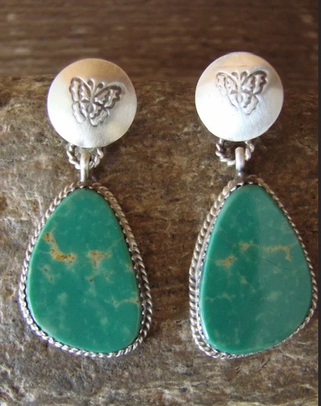NAVAJO TURQUOISE CONCHO EARRINGS