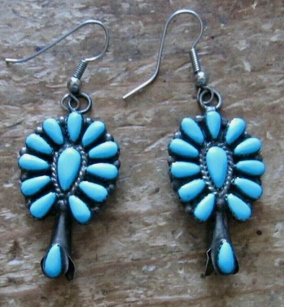 VINTAGE SQUASH BLOSSOM STERLING TURQUOISE EARRINGS