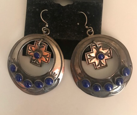 VINTAGE STERLING LAPIS EARRINGS