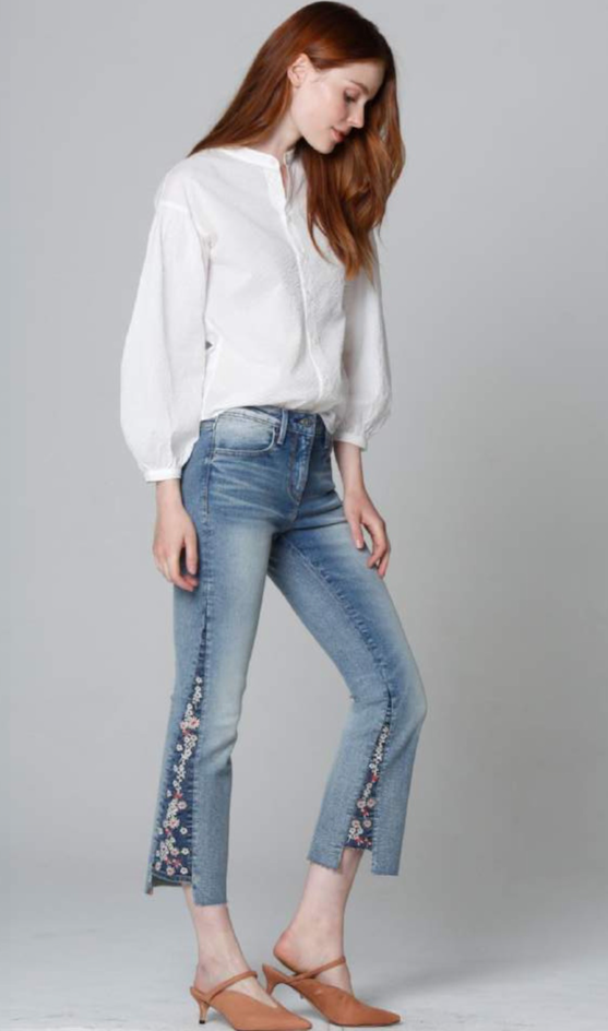 INDIE BOOT CROPPED FLORAL JEAN