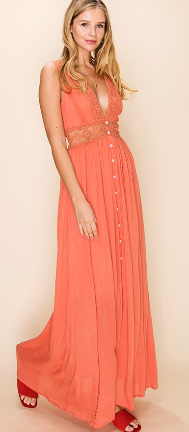 DEEP V-NECK CROCHET MAXI DRESS