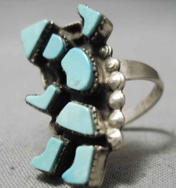 VINTAGE KACHINA DANCER TURQUOISE RING