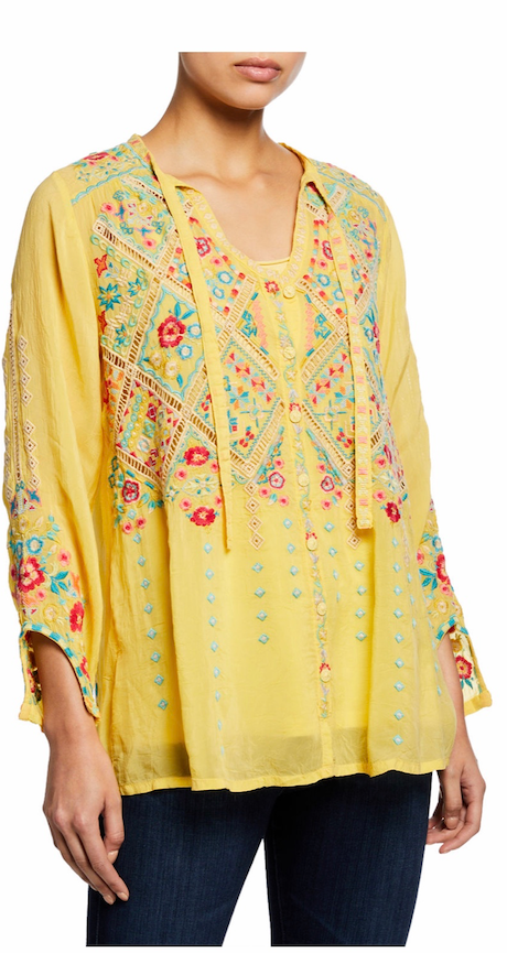 ARGES EMBROIDERED GORGETTE BLOUSE