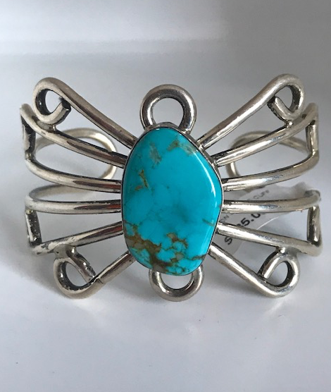 BEAUTIFUL STERLING SILVER TURQUOISE BRACELET