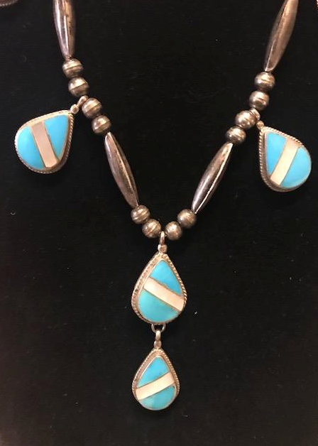 MOP AND TURQUOISE INLAY NECKLACE