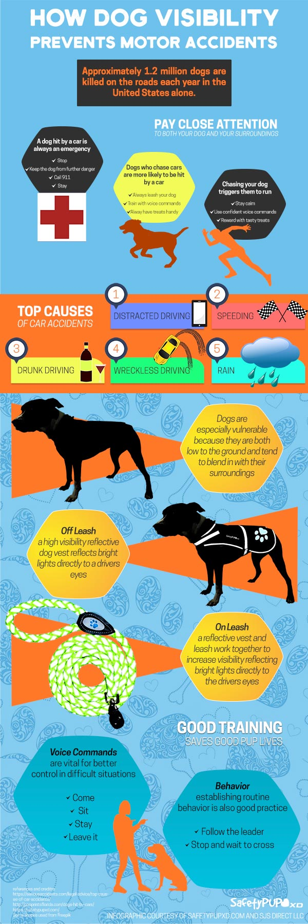 reflective dog vest how visibility prevents motor accidents with cars infographic