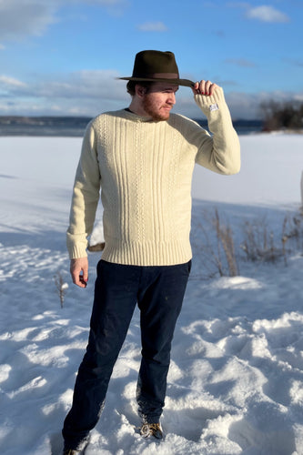 Sustainable men's sweater made with natural Vermont wool.