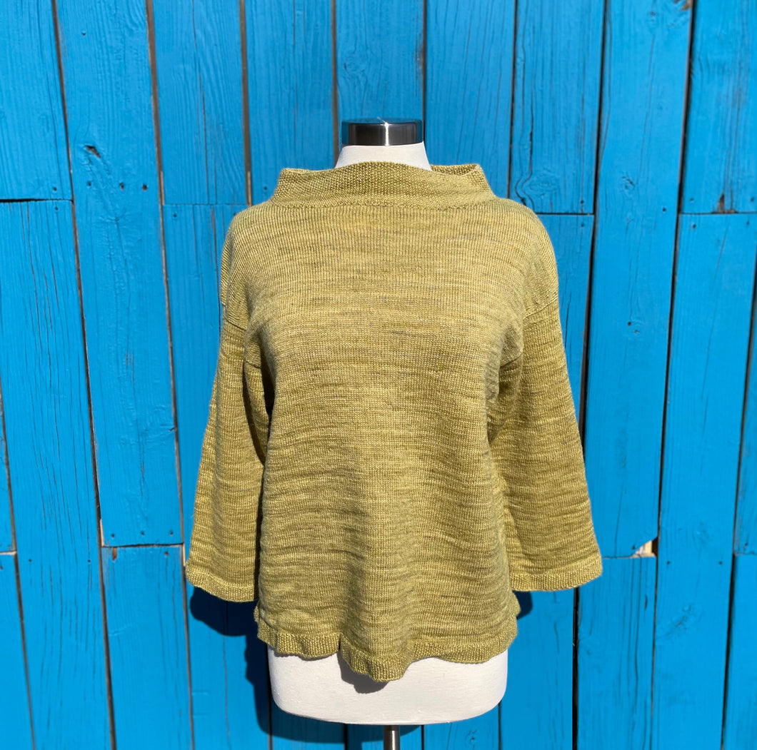 The Hemp/Wool Blend Funnel Neck - Green