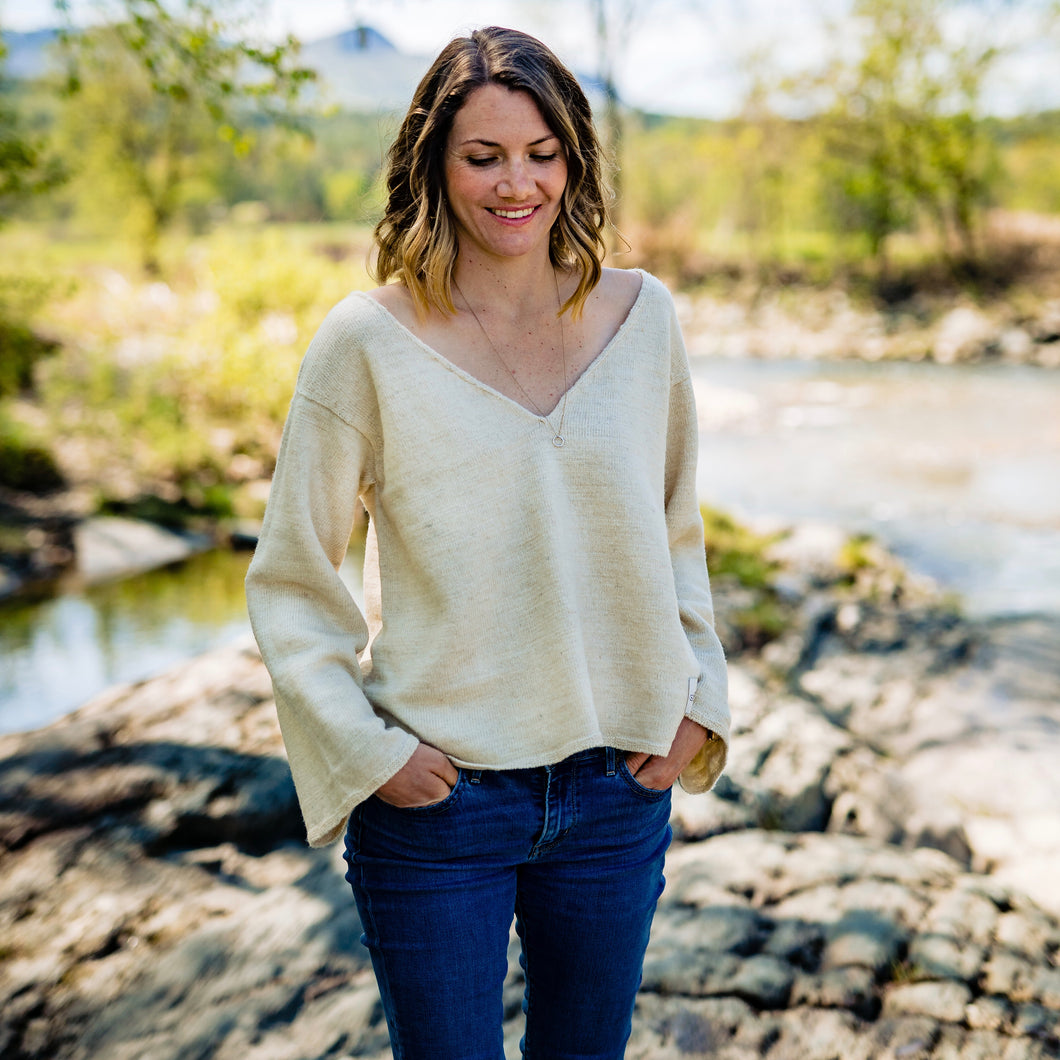 Sustainable v-neck sweater made with natural Vermont wool and hemp.