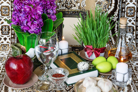 Nowroz set up with hyacinth and other traditional elements
