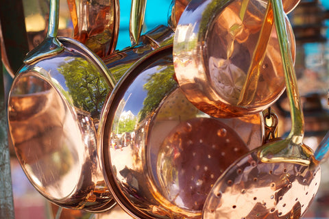 Close up photo of copper dishes