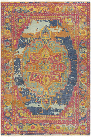 Auch Updated Traditional Bright Pink Area Rug