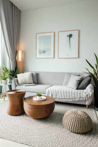 living room with grey couch and white and grey area rug