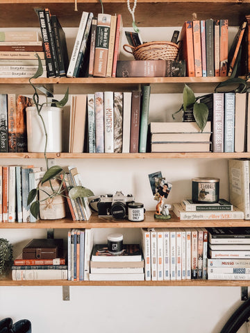 Stacked books horizontally and vertically