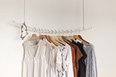 clothing with wooden hangers