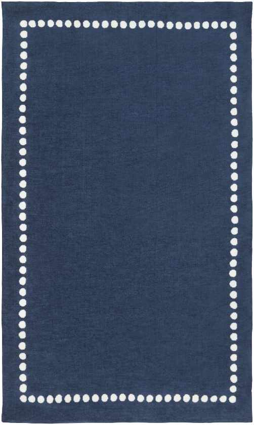Glanville Solid and Border Navy Area Rug