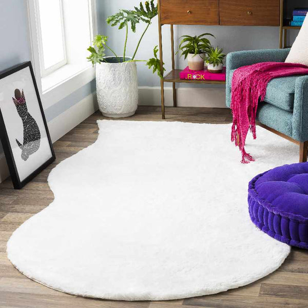 Haverhill Hide Leather and Fur White Area Rug