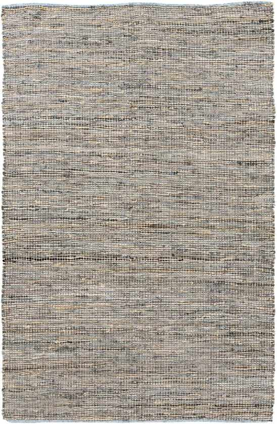 Acton Hide Leather and Fur Taupe Area Rug