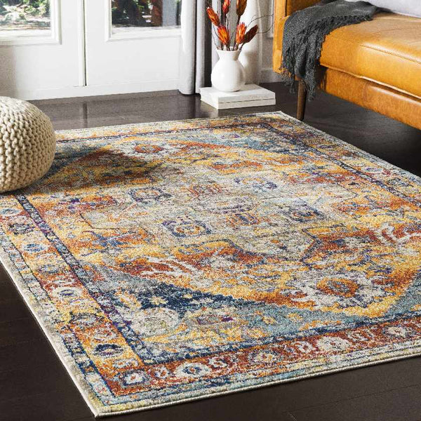 Ray Traditional Bright Orange Area Rug