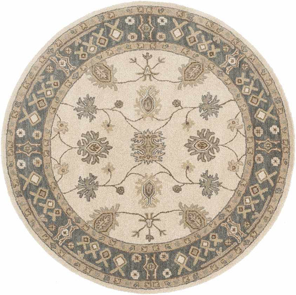 Trappes Traditional Khaki Area Rug